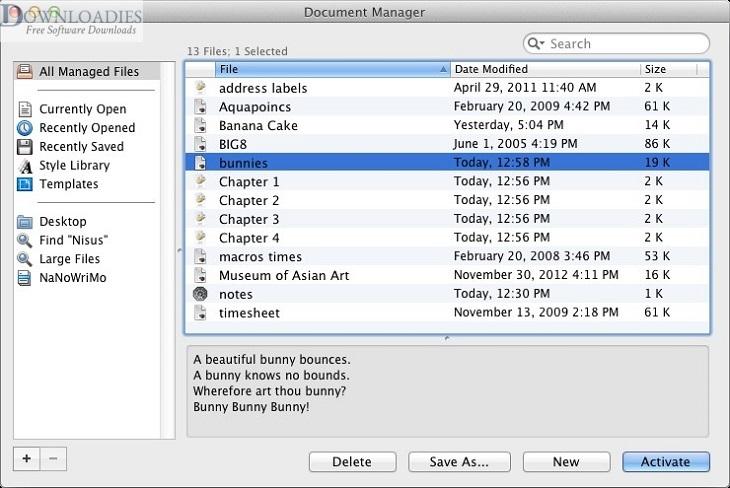 Nisus Writer Pro 3.0 for Mac download Free downloadies